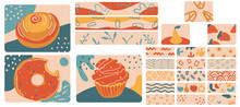Large Set Of Hand Drawn Minimalist Abstract Doodles In Vintage Style. Varicoloured Horizontal Backgrounds With Donuts, A Bun, A Cupcake, Leaves, A Pear, Strawberries, Flowers, A Rainbow. Vector EPS 10