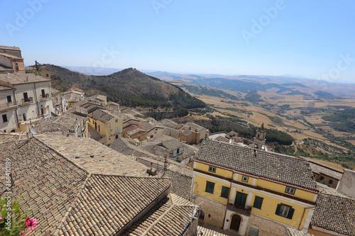 Tela Sant'Agata di Puglia - 29 July 2020: The town in the Daunia mountains in the pro
