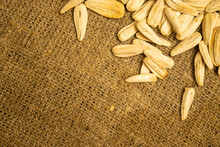 White Sunflower Seeds Fried With Sea Salt In Bulk On A Background Of Coarse-textured Burlap. Close Up.