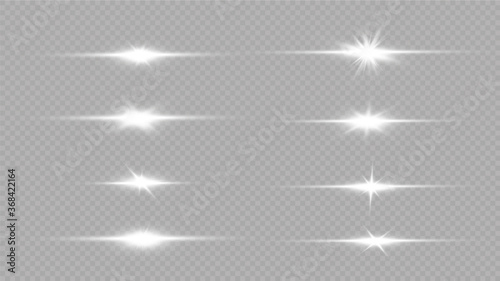 Obraz  Shine starlight isolated on transparent background. Glowing light effect.Set of flashes, Lights and Sparkles on a transparent background. Bright gold flashes and glares. - fototapety do salonu