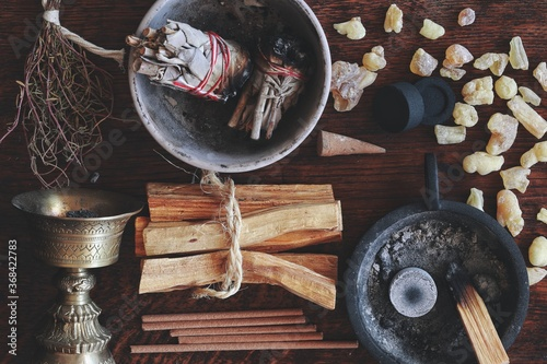 Fotografie, Obraz Flat lay various kinds of air element objects to use in witchcraft and wicca on