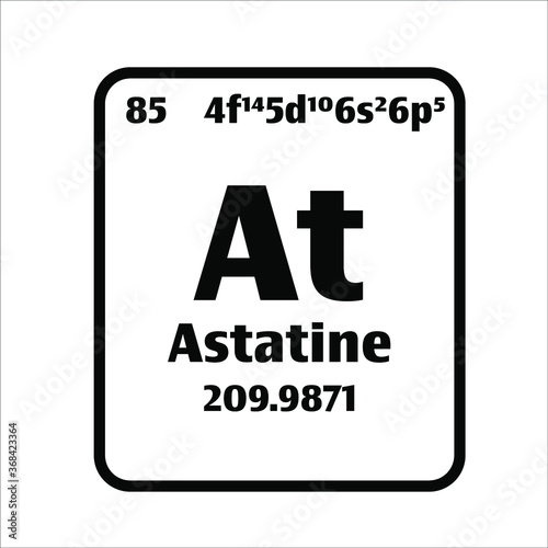 Astatine (At) button on black and white background on the periodic table of elements with atomic number or a chemistry science concept or experiment Canvas Print