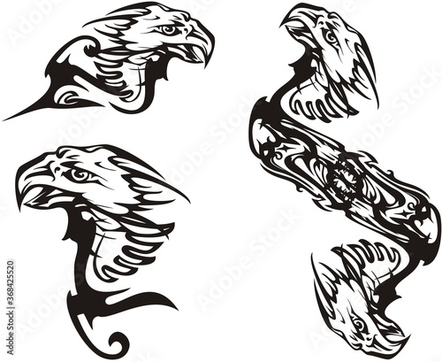 Scary black and white eagle symbols tattoo Poster Mural XXL