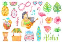 Watercolor Hawaii Set Isolated...