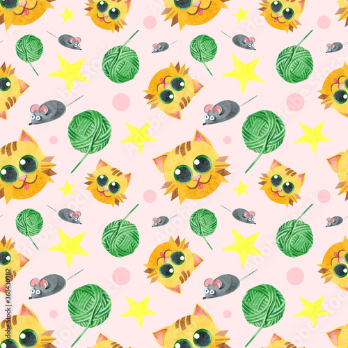 Seamless pattern with a funny cat, a ball of thread, a gray mouse. Creative children's texture. Watercolor illustrations on a pink background. For fabric, textiles, websites, wallpaper, packaging.