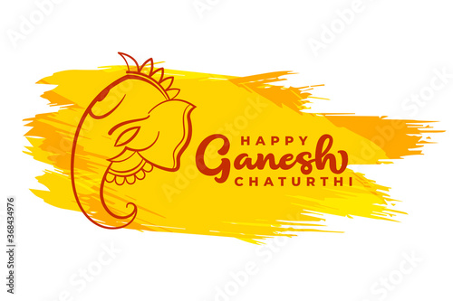 Canvas Print happy ganesh chaturthi card design in abstract style