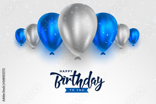 Cuadros en Lienzo happy birthday blue and silver white shiny balloons background