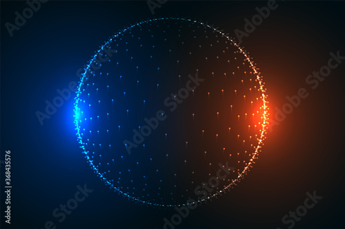 Tela glowing particle sphere in two light colors