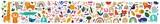 Fototapeta Fototapety na ścianę do pokoju dziecięcego - Decorative abstract horizontal banner with colorful doodles. Hand-drawn modern illustration