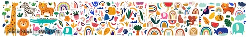 Decorative abstract horizontal banner with colorful doodles. Hand-drawn modern illustration