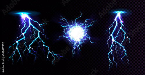Fotomural Electric ball and lightning strike, impact place, plasma sphere or magical energy flash in blue color isolated on black background