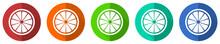Lemon Icon Set, Fruit, Fresh Citrus, Red, Blue, Green And Orange Flat Design Web Buttons Isolated On White Background, Vector Illustration