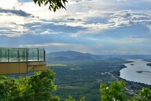 Skywalk On Wat Pha Tak Sue. Mekong River, Mountain And Thai Countryside Scenery,  Nong Khai Province Thailand