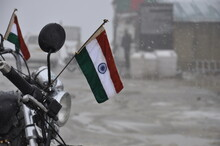 Indian Flag On A Motorcycle Ha...
