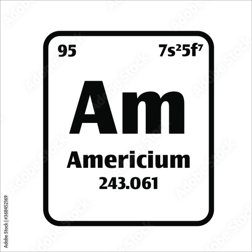 Americium (Am) button on black and white background on the periodic table of elements with atomic number or a chemistry science concept or experiment Canvas Print