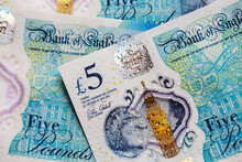 British Currency - Close Up Of The New 2016 Polymer Five Pound Note With Enhanced Counterfeit Resilience.