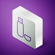 Isometric line USB flash drive icon isolated on purple background. Silver square button. Vector Illustration.