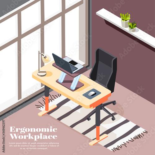 Obraz  Ergonomic Workplace Isometric Background - fototapety do salonu