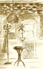 Watercolour Sketch Of Cafe Int...