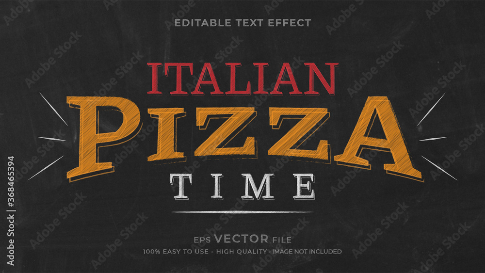 Fototapeta Pizza chalk premium editable text effect
