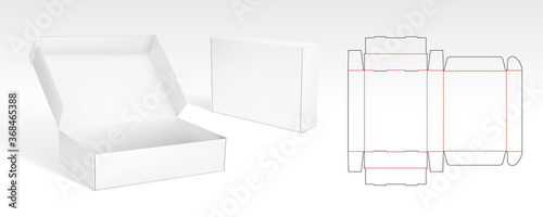 Fotografia Box With Flip Lid Packaging Die Cut Template