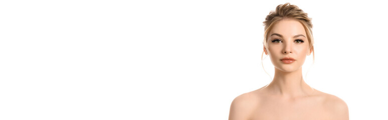 naked beautiful blonde woman with makeup looking at camera isolated on white, panoramic shot