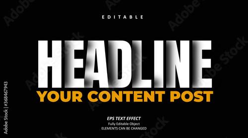 Valokuvatapetti 3D Shadow Headline Title Editable Text Premium Vector
