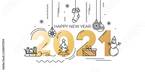 Fototapeta 2021 Happy New Year greeting card with golden text and linear icons. Trendy Christmas and New Year design for party invitation, greeting card, poster, banner etc. Vector illustration obraz