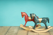 Two Vintage Rocking Horse On W...
