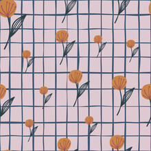 Random Seamless Pattern With Red Dandelion On Pink Chequered Background.