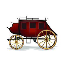 Realistic Red Stagecoach With Yellow Wheels Vector Illustration