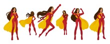 Female Set Of Superwomen And Superheroes In A Red Costume With Yellow Cape.