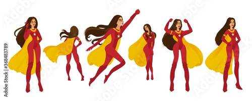 Платно Female set of superwomen and superheroes in a red costume with yellow cape