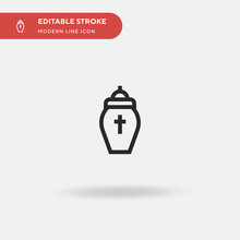 Urn Simple Vector Icon. Illustration Symbol Design Template For Web Mobile UI Element. Perfect Color Modern Pictogram On Editable Stroke. Urn Icons For Your Business Project