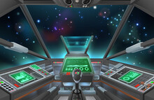 A Spaceship Cockpit With Space...