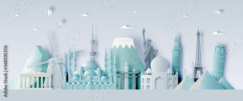 Various travel attractions in paper art style Canvas