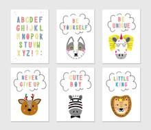 Cute Nursery Posters Set. Scan...