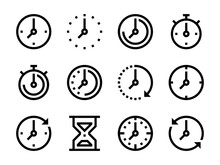Clock And Time Vector Icons.