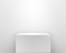 Pedestal With Shadow And Spotlight Isolated On Transparent Background. White 3d Cube Podium Stand. Vector Empty Platform Mockup