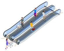 Isometric Escalator Isolated O...