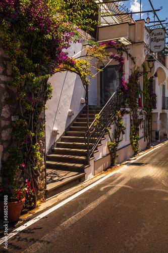 Characteristic alley in Positano town, Amalfi coast, Italy, Europe