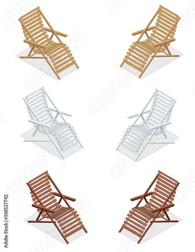 Isometric wooden deck chairs, lounge sun chair isolated on white background Tapéta, Fotótapéta
