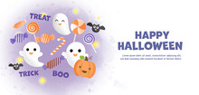 Happy Halloween Banner With Cu...