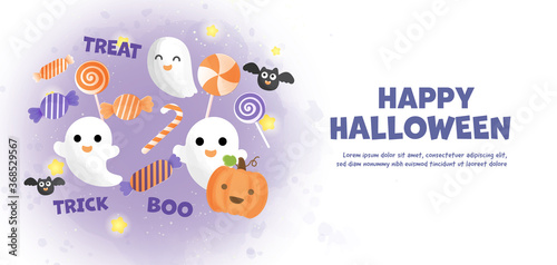 Fototapeta Happy Halloween banner with cute ghost and candy in water color style
