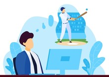 Business People Dream Concept Flat Vector Illustration. Cartoon Businessman Character Sitting At Office Computer Workplace, Dreaming About Playing Golf Game, Sport Leisure Activity Isolated On White