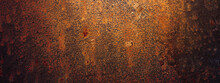 Empty Rusty Corrosion And Oxidized Background, Panorama, Banner. Grunge Rusted Metal Texture. Worn Metallic Iron Wall.