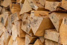 Woodpile Of Chopped Firewood Pattern End Of A Log, Fuel For A Fireplace Heating