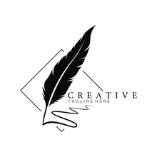 Feather Pen Logo Silhouette Wi...