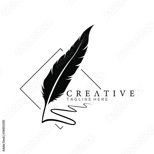 Photo feather pen logo silhouette with square line vector design template