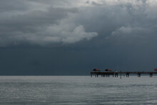 A Storm Approaches A Boat Dock Over The Gulf Of Mexico